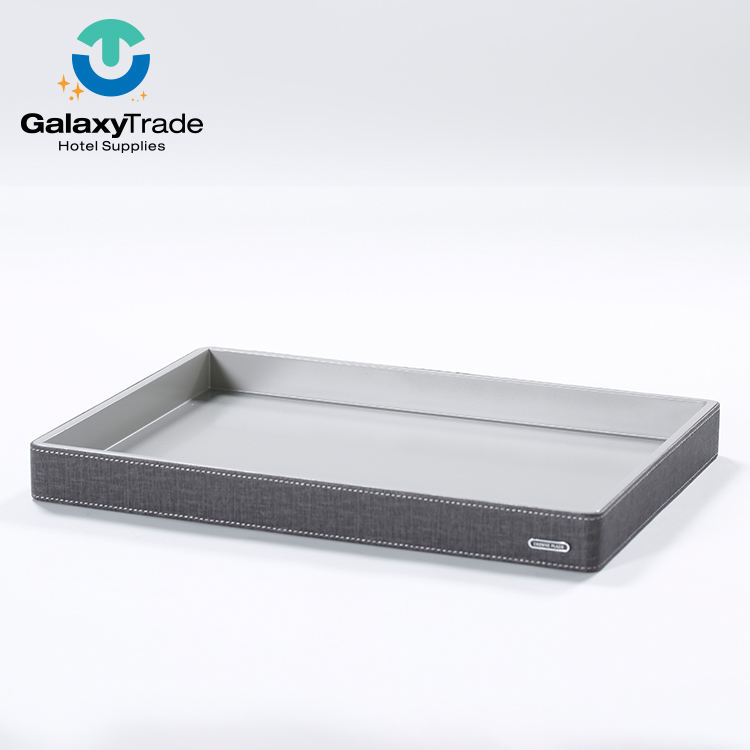 High Quality Hotel Genuine Valet Faux Leather Serving Tray For Tea
