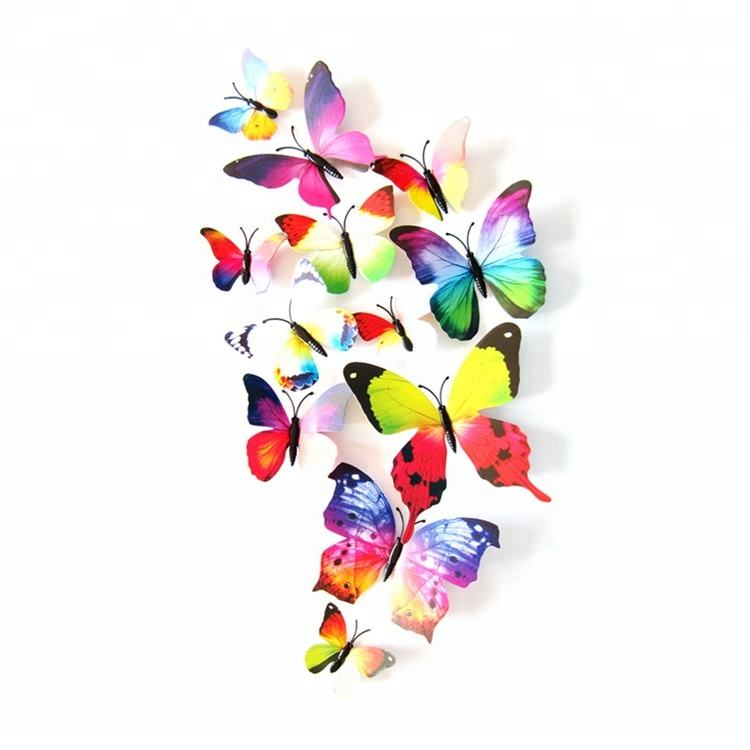12 Pieces one pack 10 Colors PVC butterflies 3D butterfly wall sticker for home decorations
