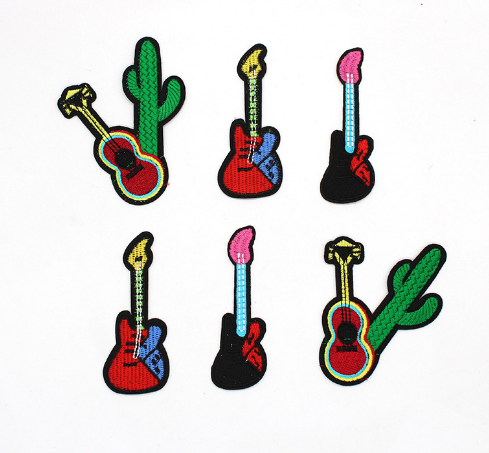 Guitar Music Instrument Rock Folk Cloth on Applique Patch Embroidered 1 2 3 Pcs