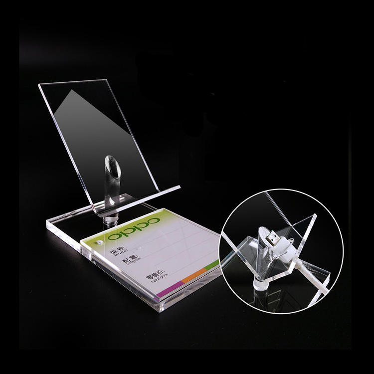countertop acrylic cell phone store fixtures display stand with price tag holder