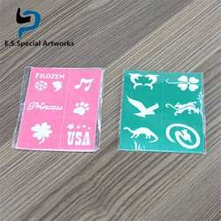 Top sales custom packaging 8*10cm pvc stencil 8 pattern