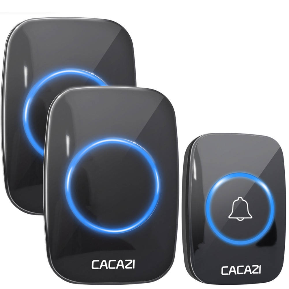 CACAZI A10 Wireless Doorbell Waterproof 300M RANGE EU UK US Plug smart Door Bell Chime battery 110V-220V 1 button 1 2 3 receiver