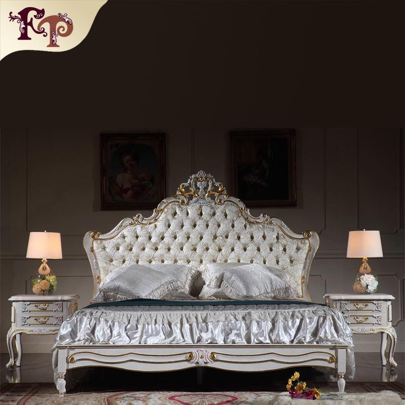 2016 Le plus populaire Europe style meubles en bois de caoutchouc, de luxe <span class=keywords><strong>rembourrés</strong></span> lit en bois massif