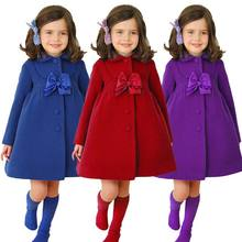 Wholesale Children Clothing Store Bowknot Decoration Fancy Girls Coat For Winter