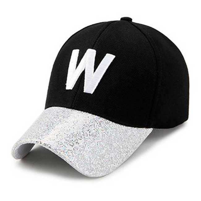 Fashion Black Baseball Cap with Sequin Two Color Embroidery Sport Hat