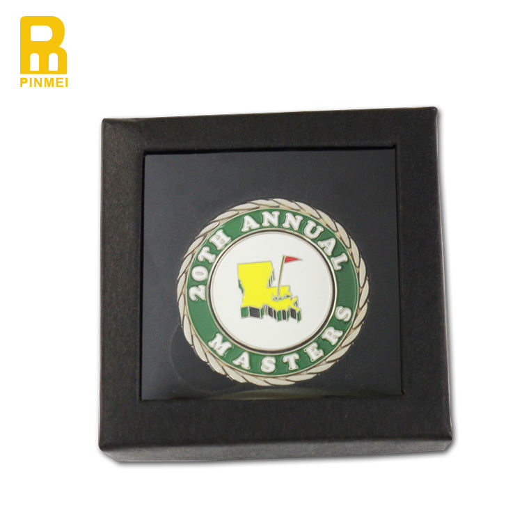 Custom golf club souvenir coin metal poker chip double sided golf big markers with presentation box