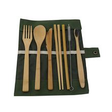 Eight sets camping wooden camping bamboo cutlery