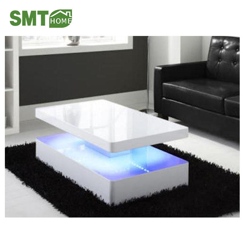 Round smart acrylic high gloss UV modern coffee table
