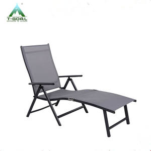 Outdoor Deluxe Aluminum Beach Yard Pool Folding Chaise Lounge Chair Recliner Outdoor Patio, Grey