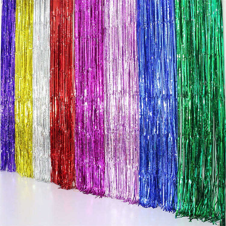 1mx2.5m Gold Tinsel String Foil Fringe Curtain Shiny Shimmer Party Wedding Birthday Door Decoration Custom Metallic Foil Curtain
