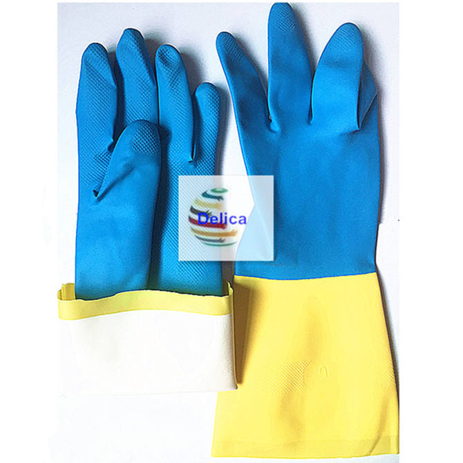 Latex Rubber Bicolor Household Latex Gloves Two Color Blue And Yellow Latex Gloves Kitchen Household Industrial