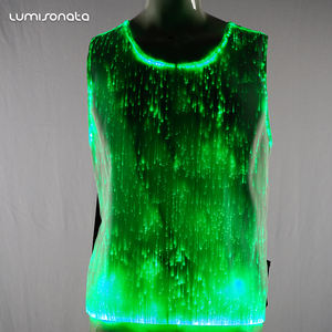 2019 New wholesale custom flashing luminous sound activated glow in the dark t shirt china led christmas light up t-shirt
