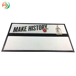 AY Anti-slip Nitrile Rubber Backed Border Bar Mat Custom Beer Bar Spill Mat Blank Bar Runner For Sublimation Printing