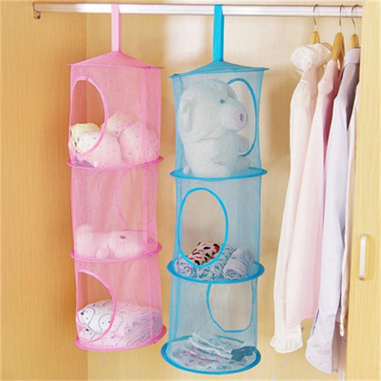 High Quality Multi Layer Color Net Basket Cylindrical Storage Hanging Bag