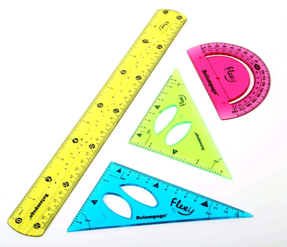 New Products Eco-friendly 4pcs Colors Clear PVC Flexible Ruler