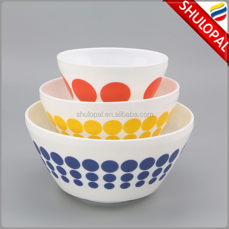 2017 New Opal Glass 3 PCS Mixing Bowl Set