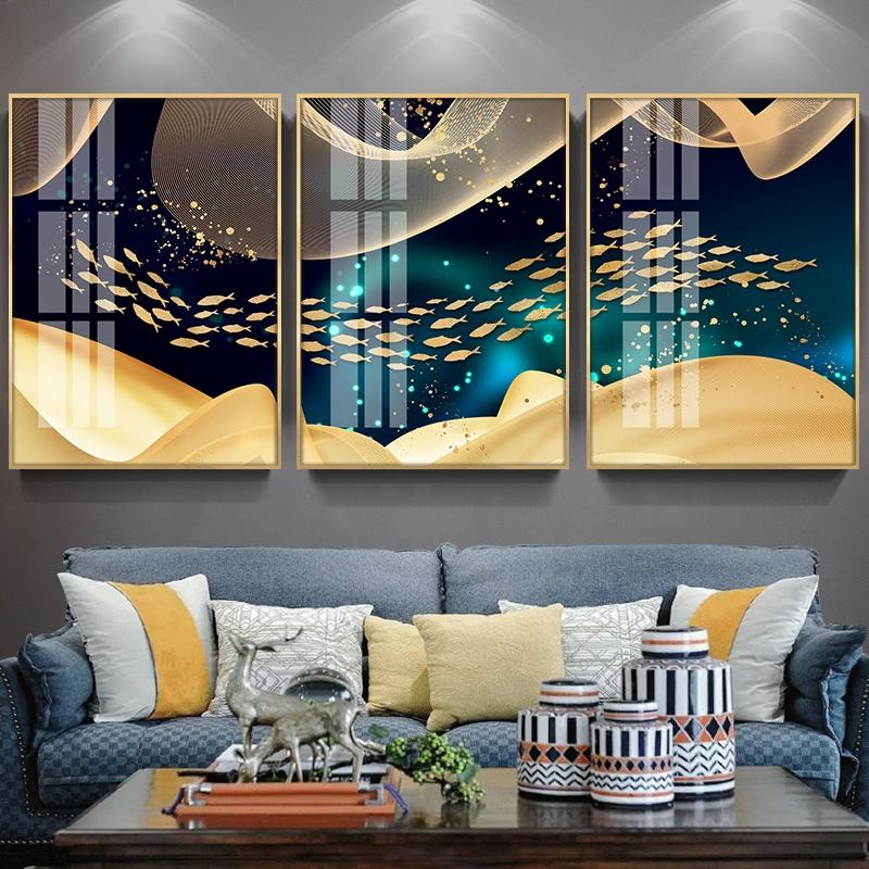 Decorative metal wall picture frame wall hanging glass painting crystal porcelain painting