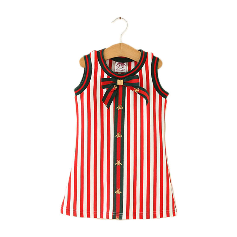 2018 new arrival striped sleeveless casual baby girl summer dress cutting