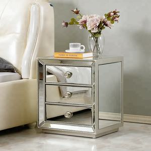 Wholesale Small Silver Mirrored Nightstand with 3 Drawers