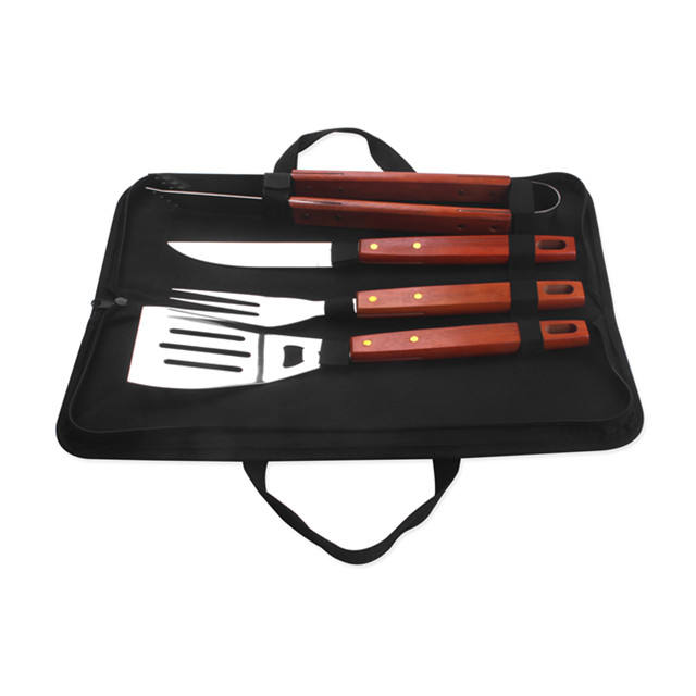4 pcs wooden handle stainless steel bbq tool set with nylon bag