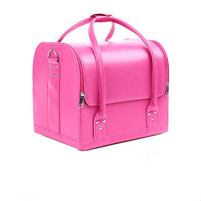 Professional beauty cosmetic case pink makeup case/ box PU leather box
