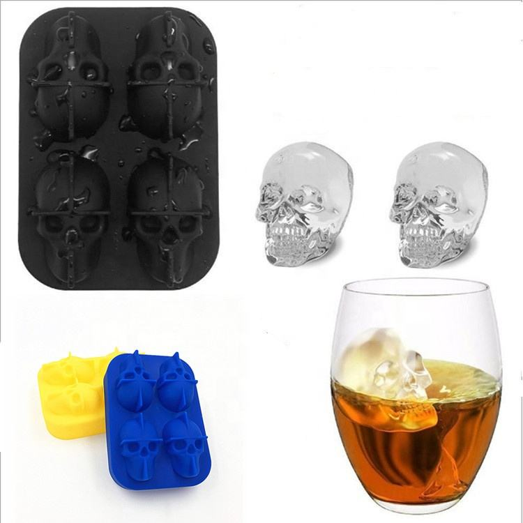 3D Skull Silicone Ice Cube Tray Mold Maker in Shapes for Whiskey Ice and Cocktails