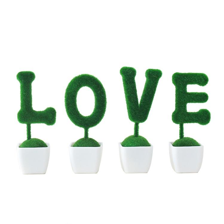 Simulation Green Grass Animal Letter LOVE Potted Plant Ornament Valentine's Day Gifts
