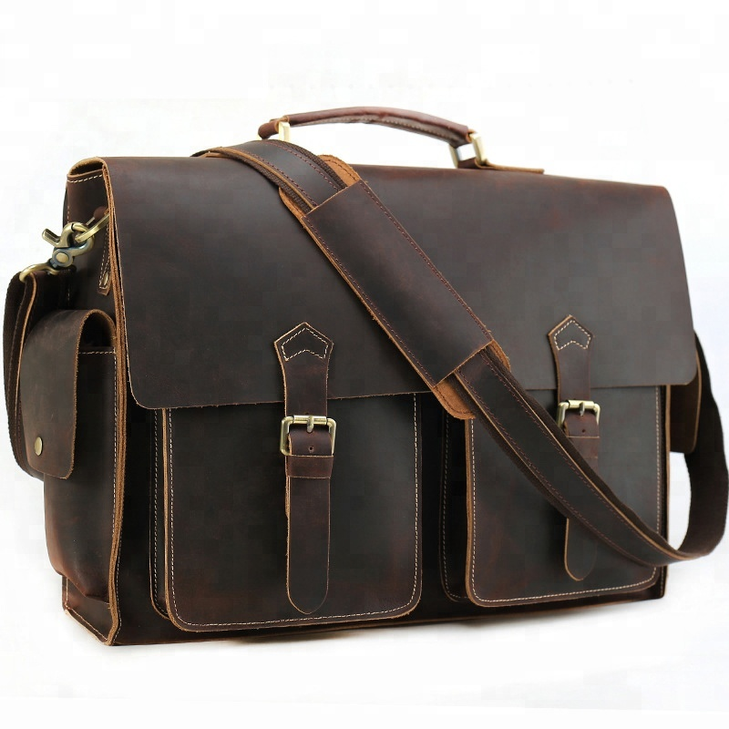 Tiding Newest Fashionable Vintage Men Large Genuine Leather Sling Briefcase 17 inch Laptop Bag Man Leather Messenger Bag
