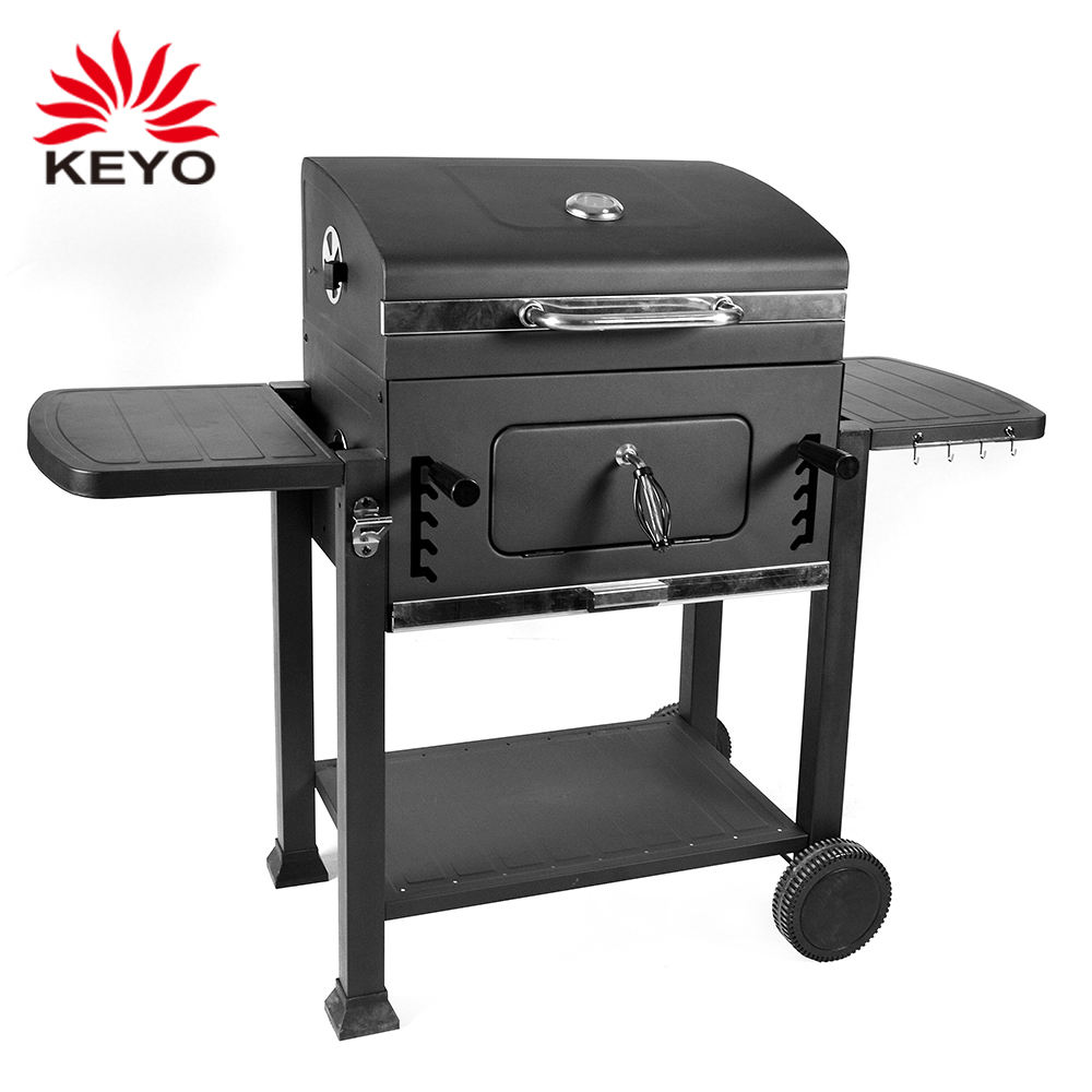 Black Expert Outdoor Picnic Barbecue Rectangular Grill Heavy Duty 24 Inch Charcoal Bbq Grill With Side Table