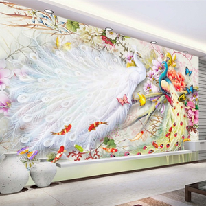 Chinese Style Watercolor Peacock 3D Wall Murals Premium Wallpaper