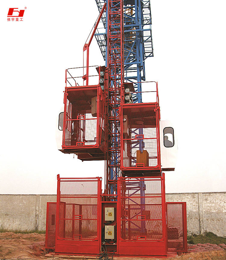construction frequency controlled steplepless speed-adjusting construction hoist SC200 fast lifting speed