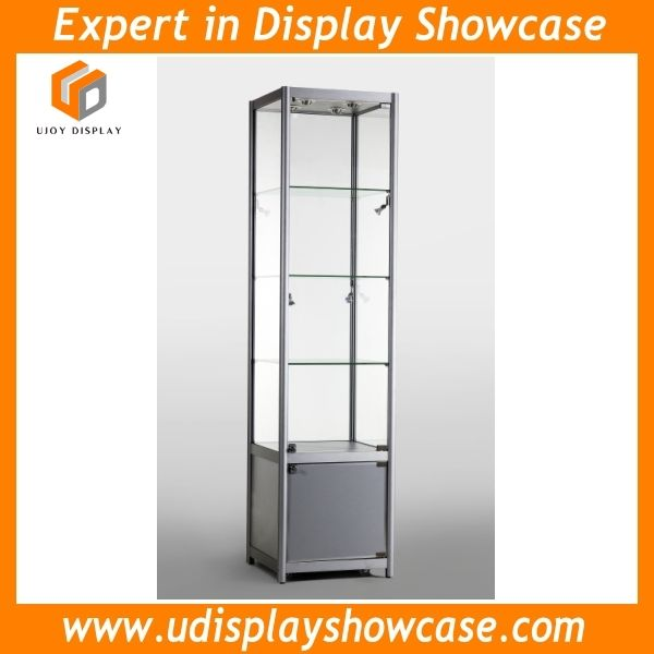 glass display tower aluminum showcase for shop and shopping mall