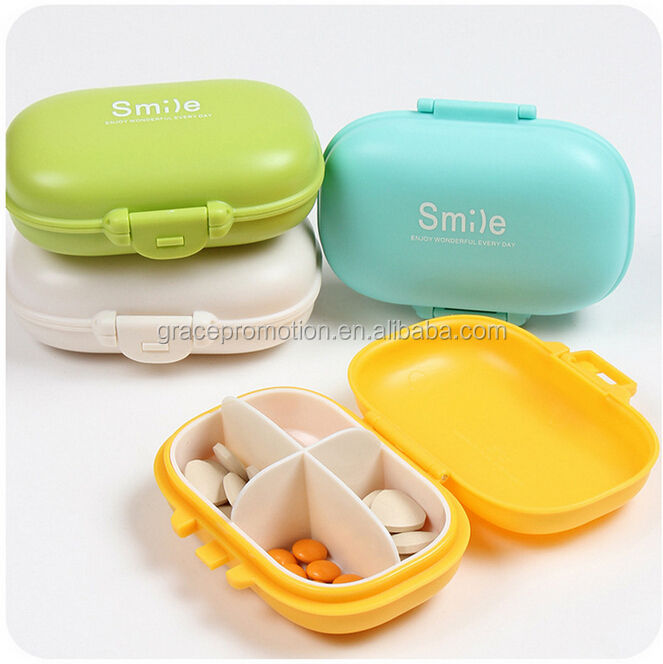 Good quality 4 cases pill box plastic promotion pill box