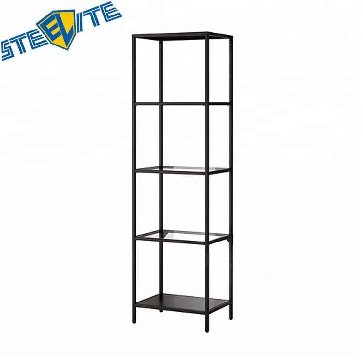 Living Room Shelf Design Wrought Iron Display Stands Metal Cube Bookcase Steel Book Shelf