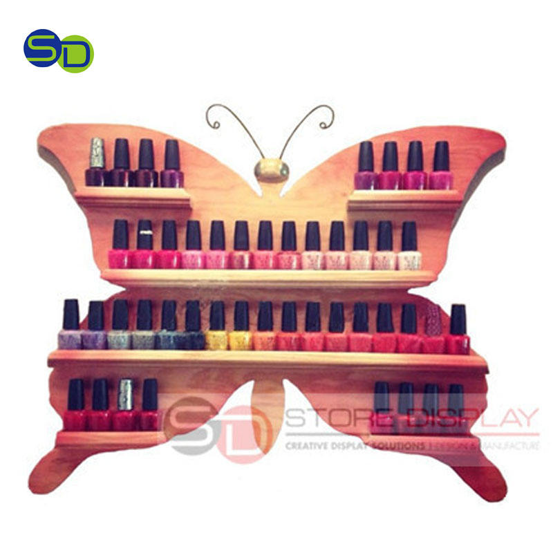 OPI Nail Polish Wooden Display Stand Custom Wooden Display Stand With Shelves Hot Sell Cosmetics Display Stand For Women