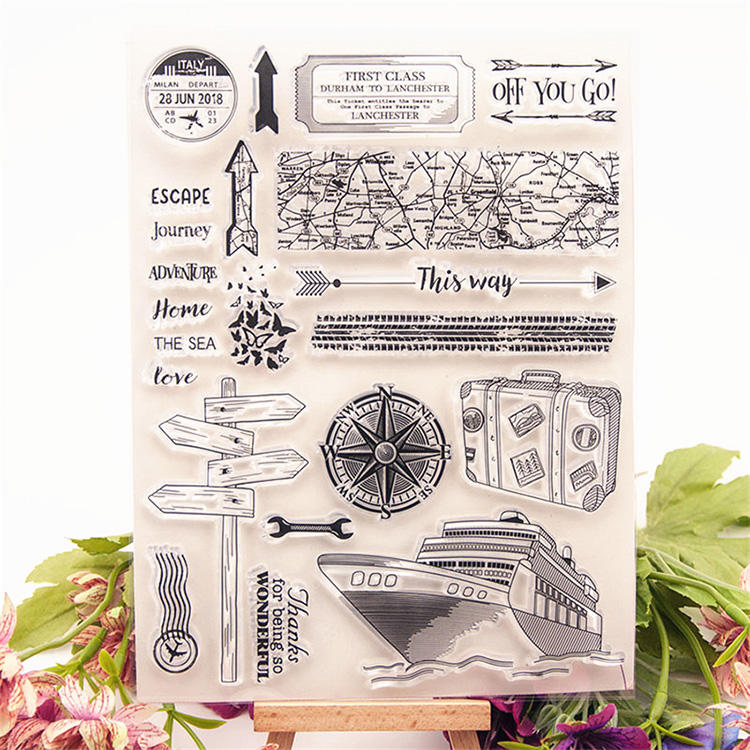 Hot Sale Custom Nautical Travel Transparent Clear Stamps Seals Roller Stamp for DIY scrapbooking