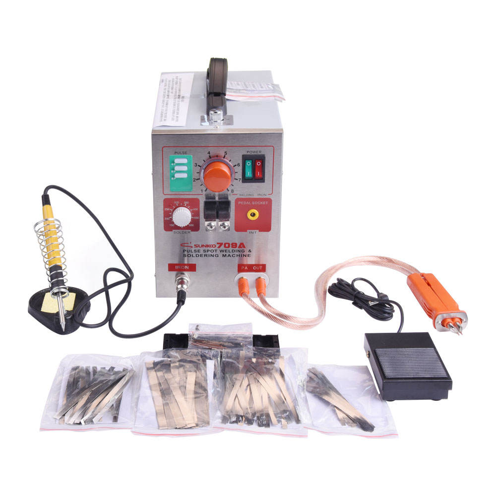 SUNKKO 709A 18650 Battery Spot Welder 2 in 1 LED Pulse Spot Welding Machine Kit with Soldering Iron