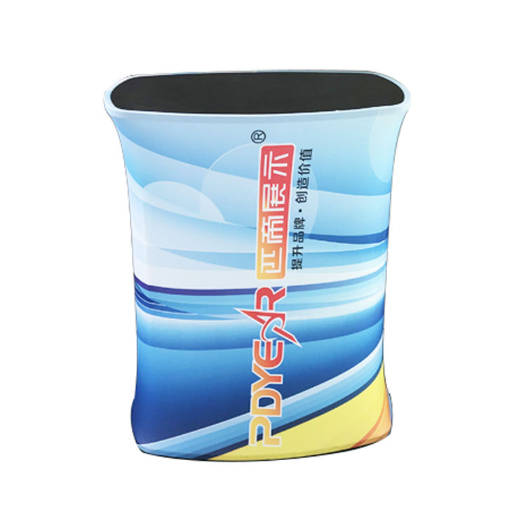 PDyear Portable trade show oval square exhibition tension stretch fabric advertising promotional pop up table counter display