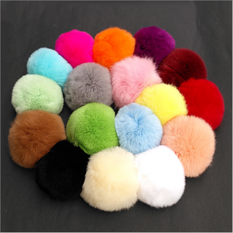 Yongze 8cm multicolor real rabbit fur pom poms plush ball custom keychain manufacturers in china