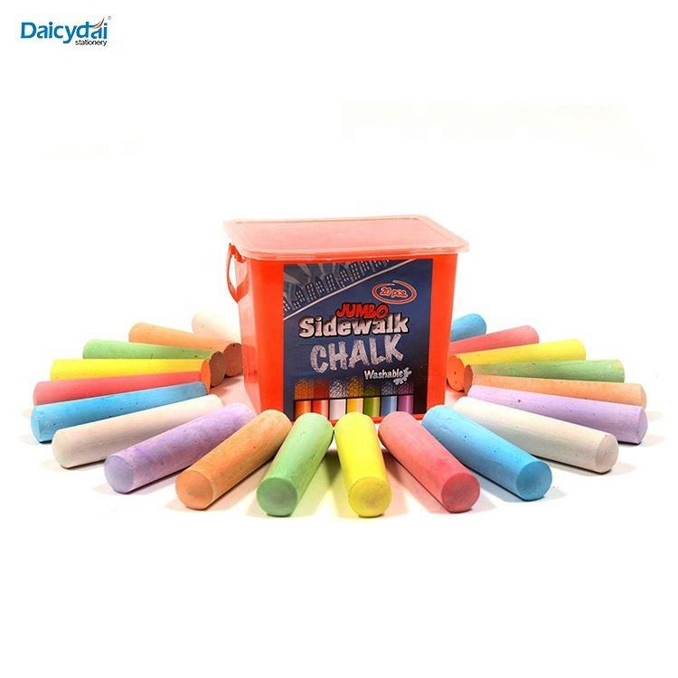 20 Piece Jumbo Washable Sidewalk Chalk Nontoxic Tapered Chalks Teachers Schools 1 x 4 Inches