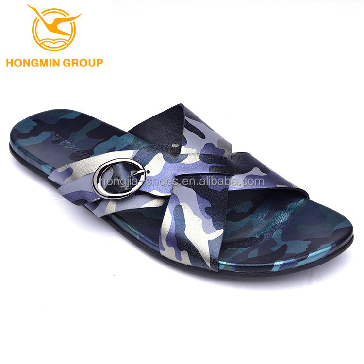 wholesale slippers fashion genius cow leather molding rubber out sole sandals and slippers shoes for men