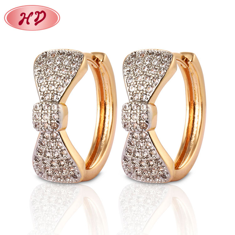 Jewelry Supplies Fashion Bowknot Gold Plated Jhumka Hoop Earring
