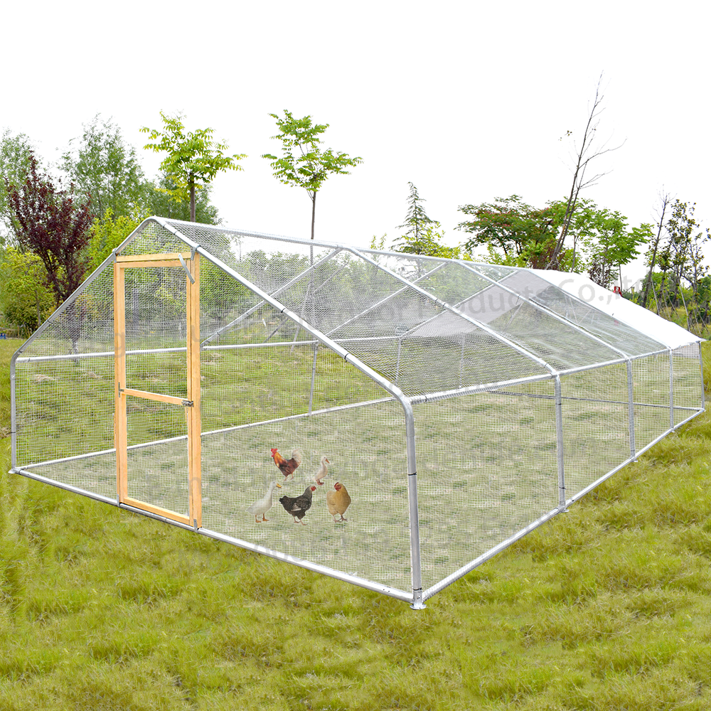 Factory Supply 3*8M Breathable Metal Iron Wire Fence Hens Chicken Coop With Door And Waterproof Cover