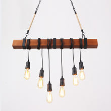 Bar Antique E27 Edison Bulb chandelier Retro Industrial hemp rope wood hanging lamp