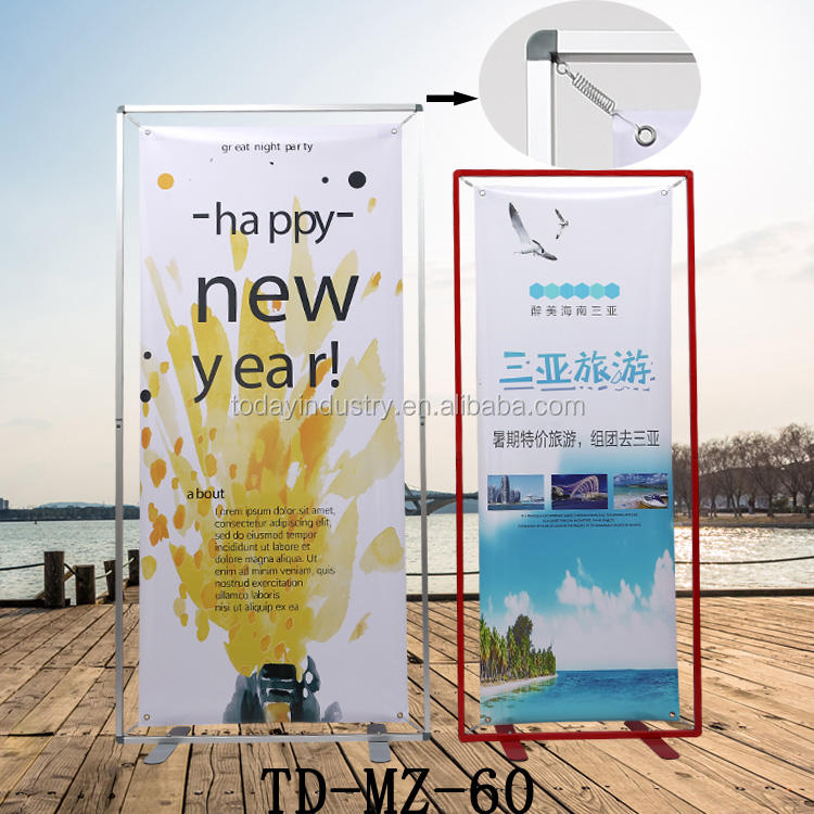 Economic aluminum triangle portable roll up banner stand retractable tradeshow display