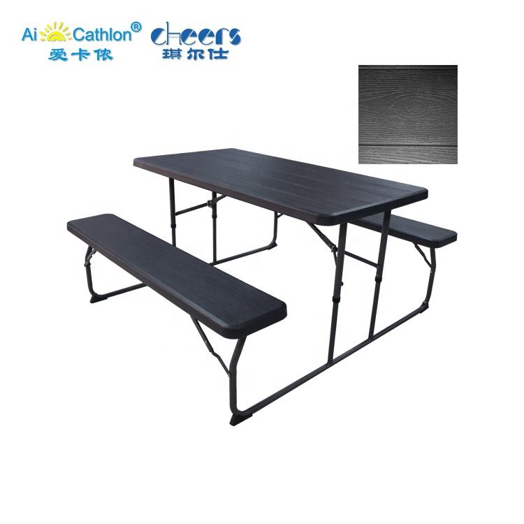 Outdoor Furniture Woodgrain Design HDPE Blow Mold Folding Picnic Beer Garden Table and Bench Set