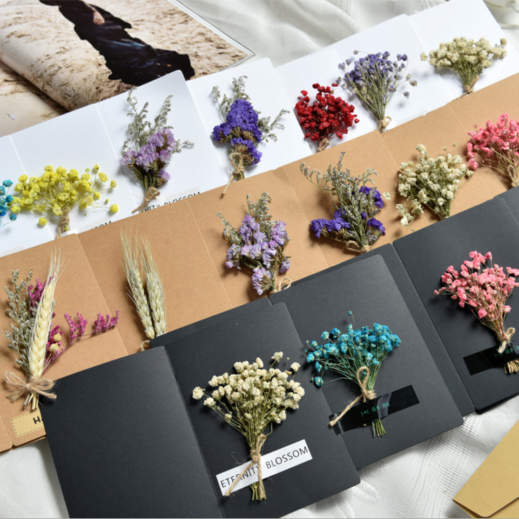 Factory direct sale The ins photo props handmade three-dimensional dried flower greeting card The rose Star CARDS