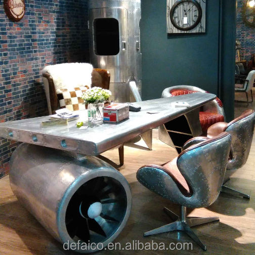 Airplane Wing Desk Table Aluminium Rivets Cover Aviation Spitfire Vintage Industrial Office Desk