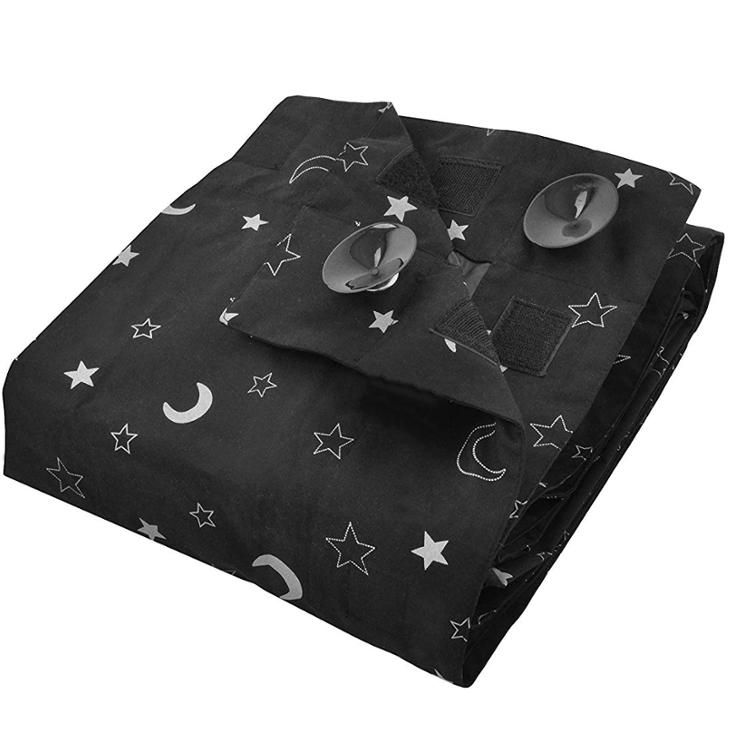 Moon and Star Printed Temporary Blinds Portable Blackout Suction Cup Travel Curtain With Magic Tape