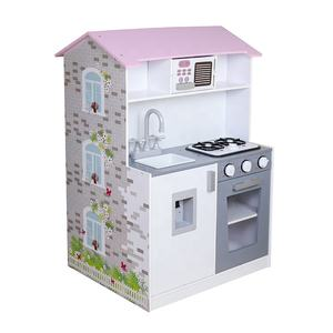 2019 Original Design double sided toy set wooden doll house and kitchen for children W06A374